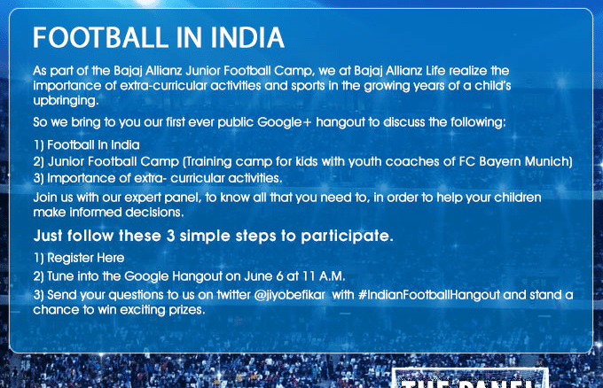 Google Hangout Bajaj Allianz Football Junior Camp Pune