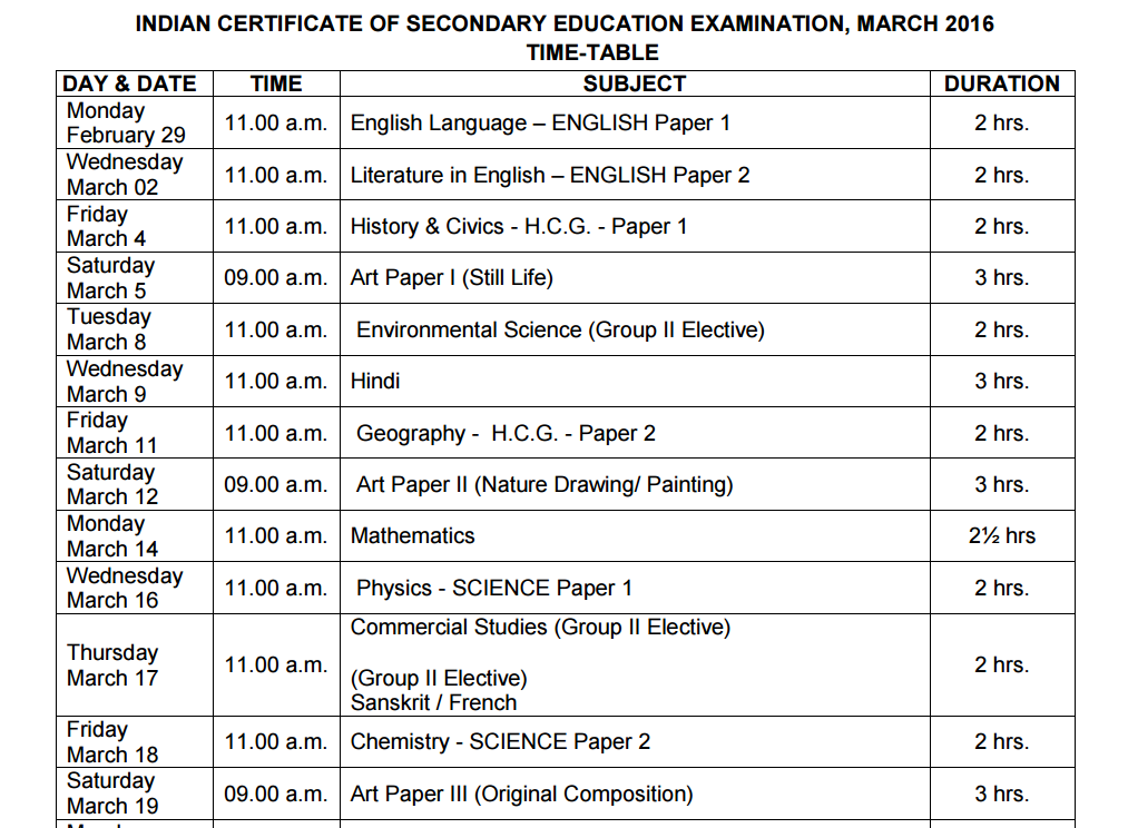 icse exam time table 2016