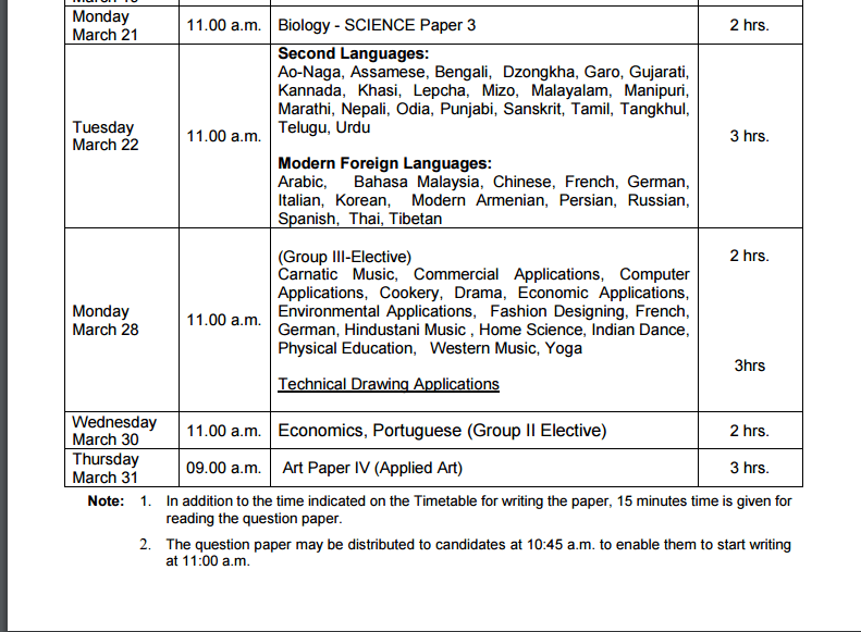 Icse Exam Time Table 2016 border=