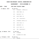 CBSE  class 10 Exam Time Table  2016